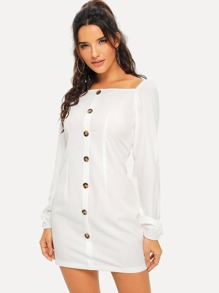 Raglan Sleeve Button Up Dress