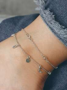 Moon & Disc Anklet Chain Set 2pcs