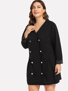 Plus Boxed Pleated Double Buttoned Coat