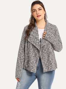 Plus Waterfall Collar Marled Coat
