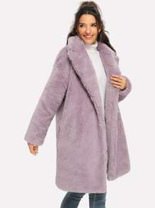 Notched Neck Solid Teddy Coat