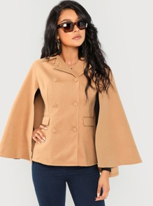 Button & Pocket Up Cloak Sleeve Coat