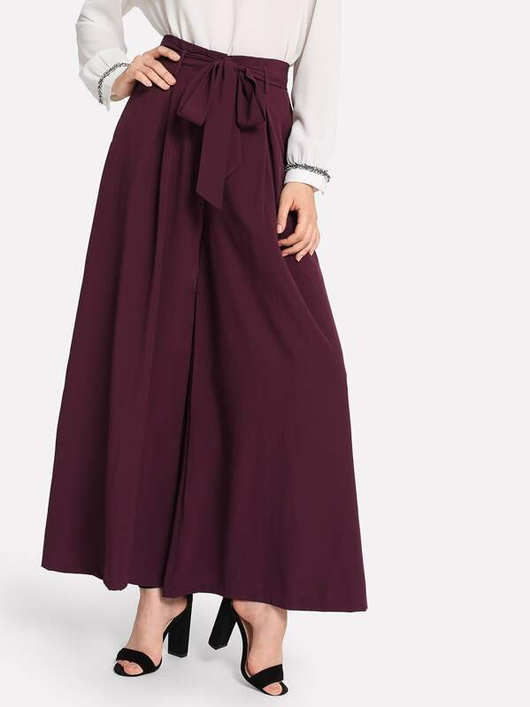 32f1a38739 Self Belted Skirt Palazzo Pants | SHEIN