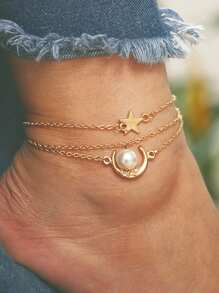 Moon & Star Chain Anklet Set 3pcs
