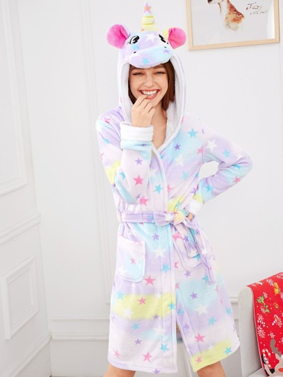 Star Print Unicorn Hooded Robe