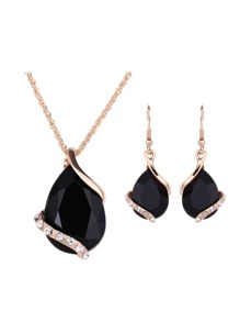 Waterdrop Gemstone Pendant Necklace & Earrings