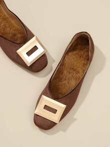 Metal Detail Square Toe Flats