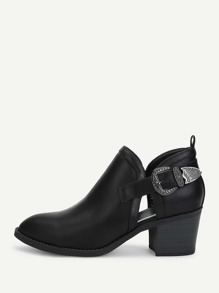 Side Buckle Pointed Toe Heeled Boots