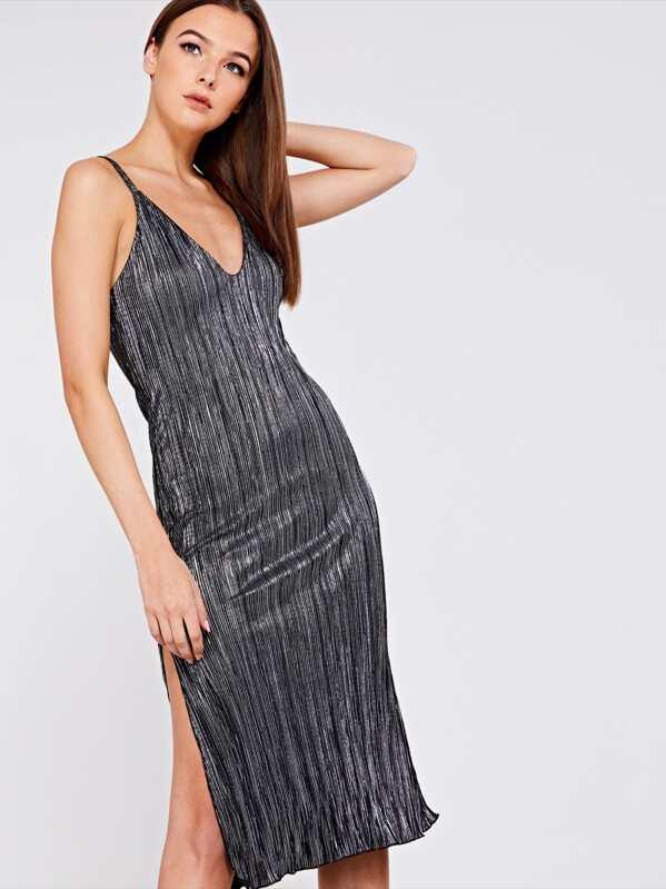 9a2543cf3a08df Metallic Plisse Midi Dress   SHEIN UK