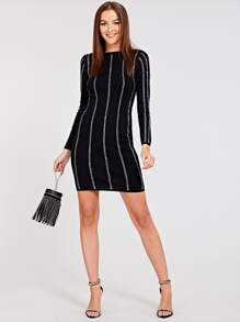 19d5c859f0 Rhinestone Stud Knitted Dress | SHEIN UK