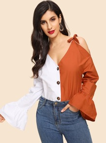 Flounce Sleeve Knot Single Breasted Blouse