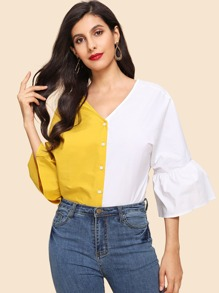 Flounce Sleeve Single Breasted Shirt