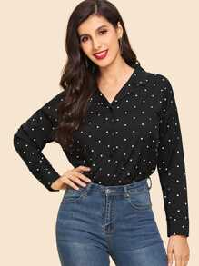 Polka Dot Drop Shoulder Shirt