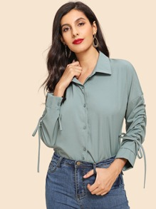 Drawstring Drop Shoulder Shirt