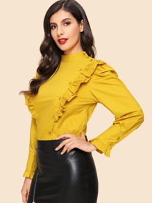 Ruffle Button Dec ration Blouse
