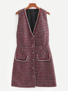 Whipstitch Trim Button Through Tweed Dress