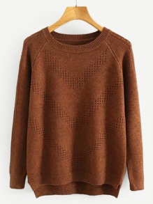 High Low Eyelet Sweater