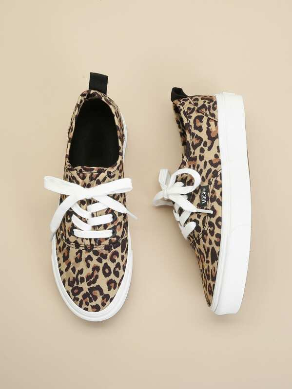860834f50a Leopard Lace-Up Sneakers | SHEIN