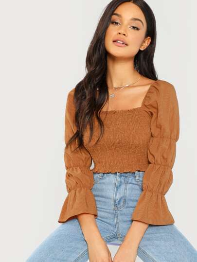 Marie Sleeve Shirred Crop Top