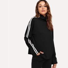SHEIN | Tape Detail High Neck Sweatshirt | Goxip