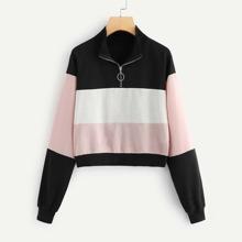 SHEIN   Color-block Quarter Zip Sweatshirt   Goxip