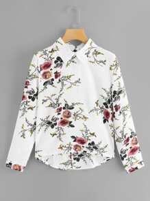 3d65e4a3e73 Random Floral Dip Hem Collared Blouse