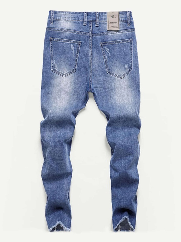 266e3b4e3c Men Destroyed Frayed Hem Skinny Jeans