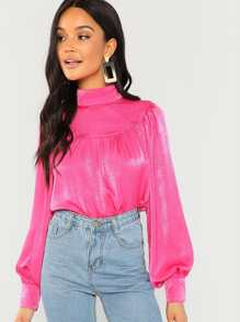 Neon Pink High Neck Bishop Sleeve Satin Top