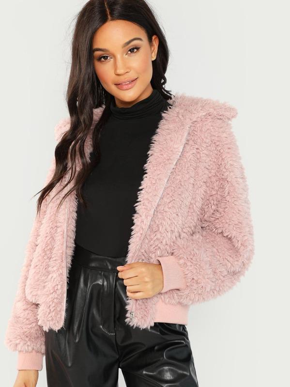 a9d87c51a9 Solid Faux Fur Teddy Jacket | SHEIN