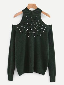 Pearl Beaded Open Shoulder Jumper
