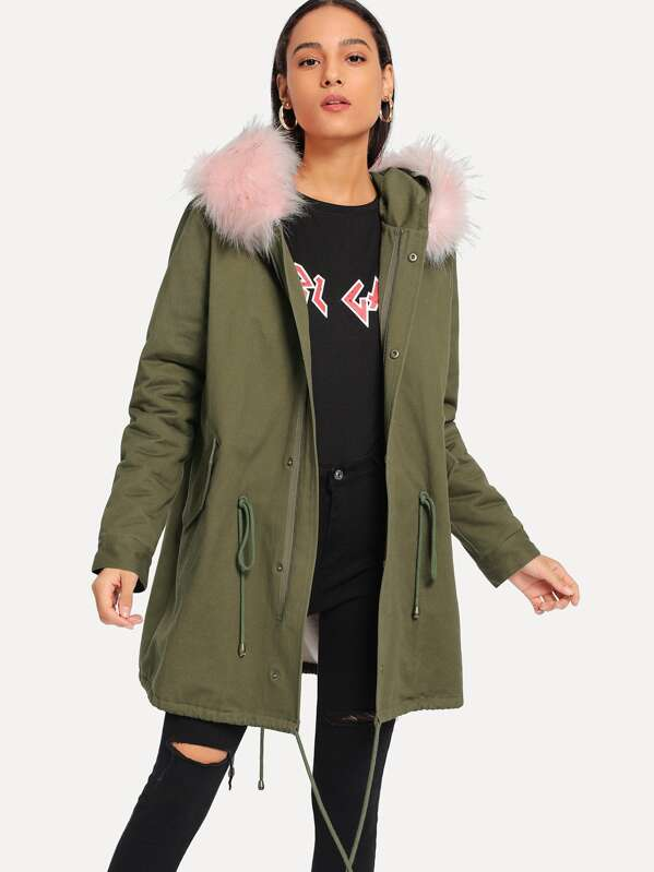 00e21e3d73 Drawstring Detail Faux Fur Insert Parka Coat   SHEIN