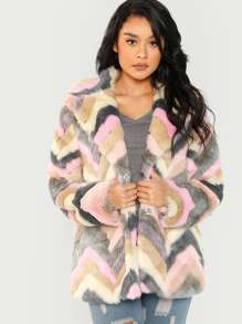 Chevron Teddy Coat