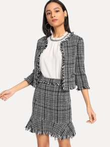 Frayed Tweed Blazer & Skirt Set
