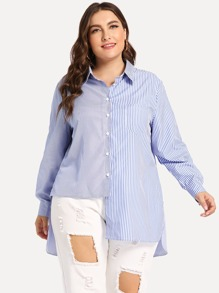 Plus Striped Button Front Blouse
