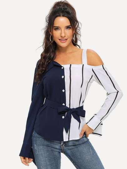 Cold Shoulder Spliced Striped Belted Blouse
