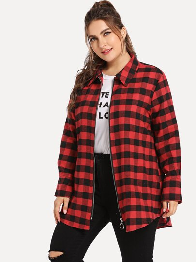 Plus Buffalo Plaid Zip Front Coat