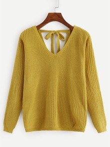 Self Tie Back V Neck Sweater