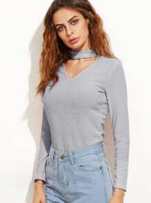 Choker Neckline Solid Sweater