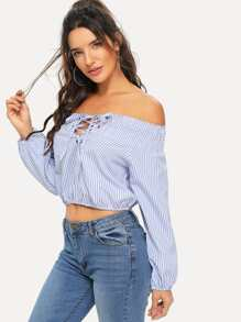 Striped Off The Shoulder Lace Up Front Blouse