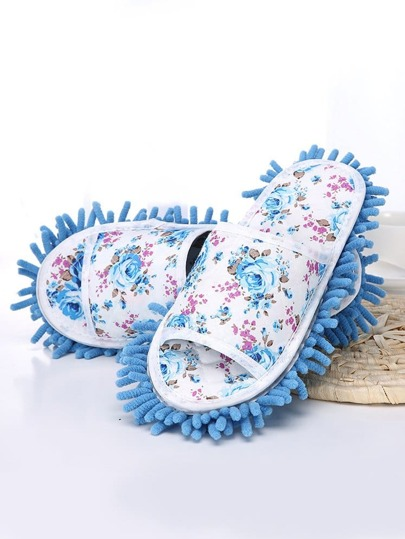 Cleaning Floor Print Mop Slippers Flower LqzVGMUpS