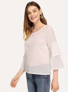 Tiered Ruffle Sleeve Solid Blouse