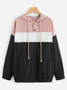 Plus Color Block Hooded Jacket