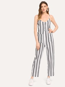 Pocket Patched Wide Leg Striped Jumpsuit