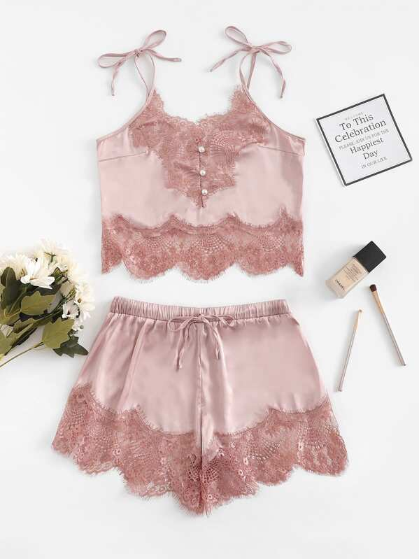 ce774ce883 Contrast Lace Cami Top   Shorts With Thong