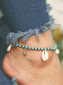 Shell Charm Beaded Anklet