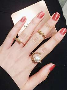 Bar & Abstract Ring Set 3pcs