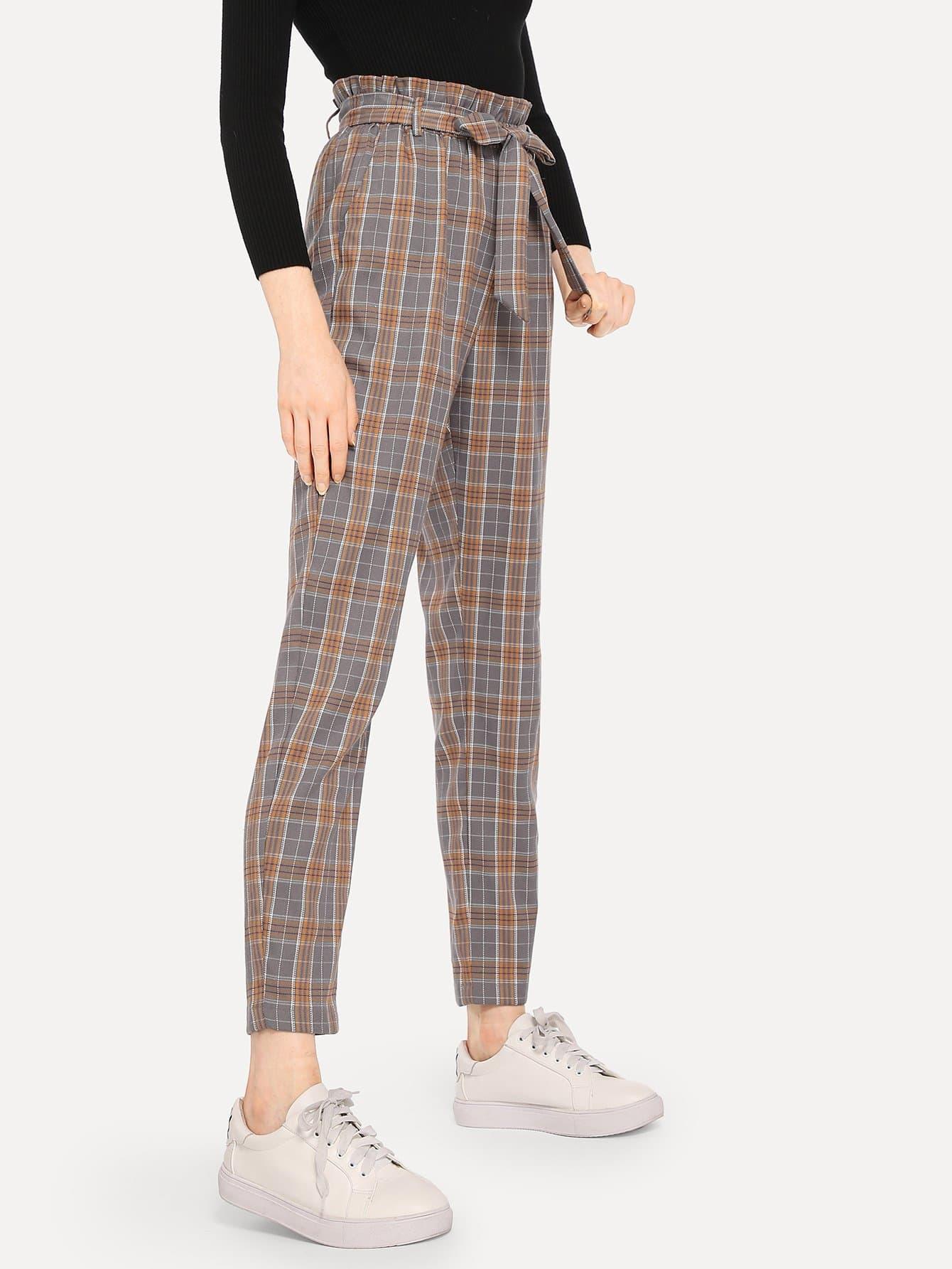 pantalon carreaux bord pliss avec n ud papillon french shein sheinside. Black Bedroom Furniture Sets. Home Design Ideas