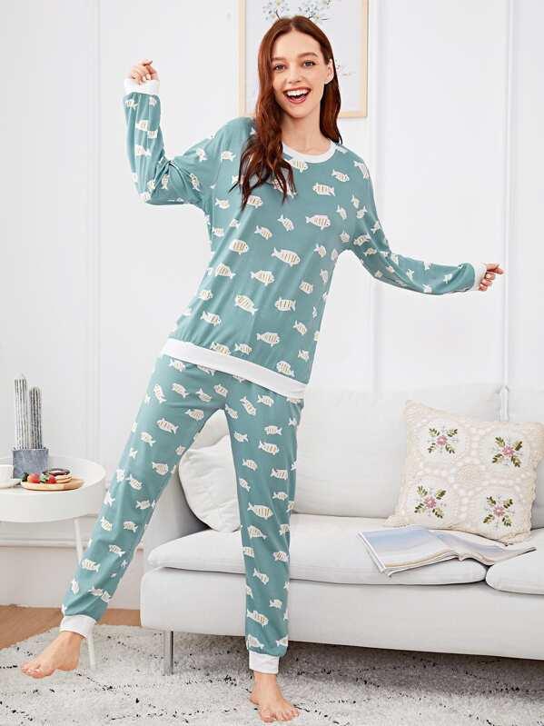 prezzo ridotto il più votato reale nuovo aspetto Completo pigiama con stampa pesce con maschera per occhi