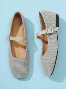 Knit Design Square Toe Flats