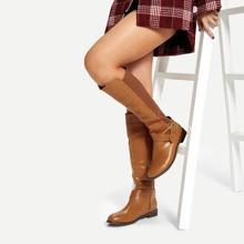 Buckle Decor Knee High Boots